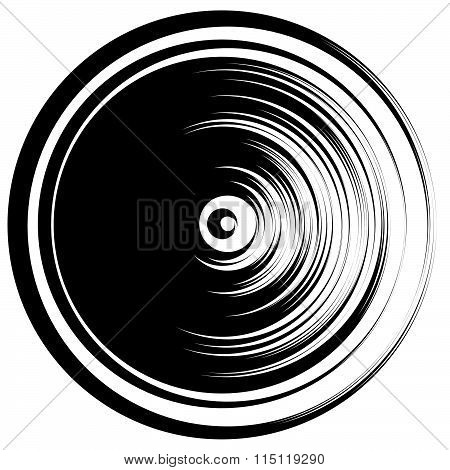 Circular Ripple Effect Isolated On White / Random Circles Abstract Element. Editable Vector.