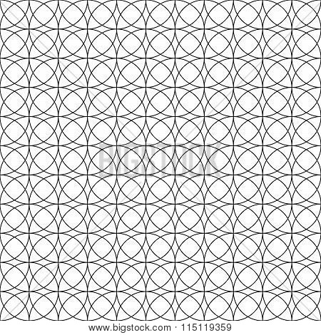 Seamless Monochrome Pattern With Intersecting Circles. Abstract Tileable Background.