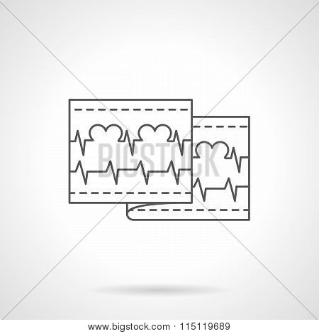 Love cardiogram flat line vector icon