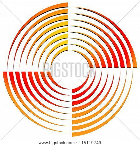 Abstract Circular Shape, Rotating Element. Vector Illustration.