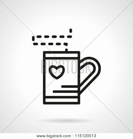 Simple line tea cup vector icon