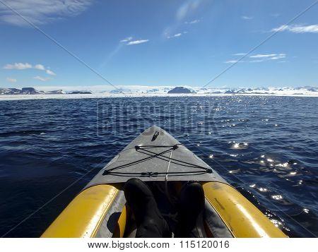 Kayaking Gustaf Sound, Whettle Sea, Antarctica