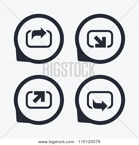 Action icons. Share symbols.