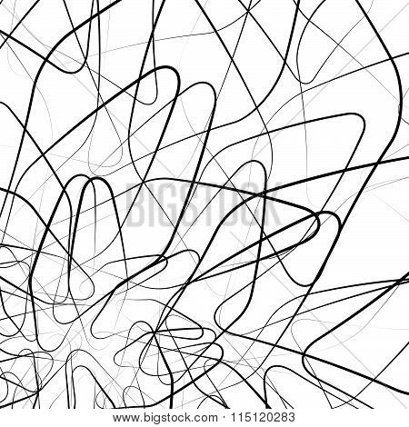 Random Intersecting Wiggly, Sinuous, Tangled Lines. Abstract Vector.