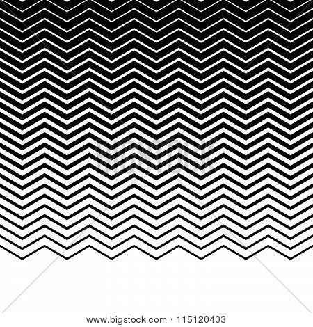 Wavy, Zigzag, Jagged Lines. Horizontally Repeatable Monochrome Pattern.