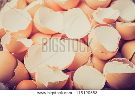 Vintage Photo Of Eggshell On The Wooden Table