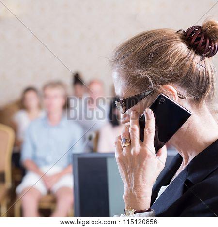 Academic Teacher With Cellphone
