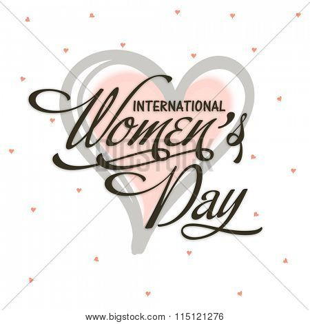 Elegant greeting card design with stylish text International Women's Day on heart decorated background.