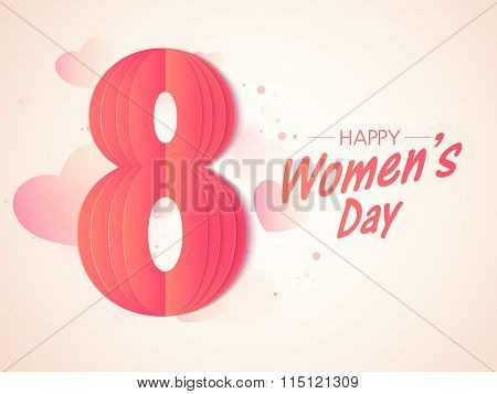 Stylish paper text 8 March on glossy hearts decorated background for Happy International Women's Day celebration.