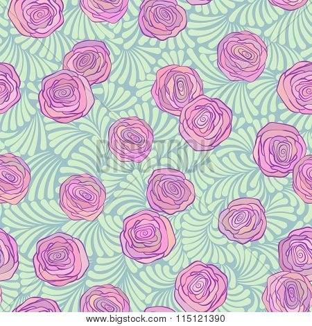 Seamless pattern with pink roses on cute curls in soft pistachio color