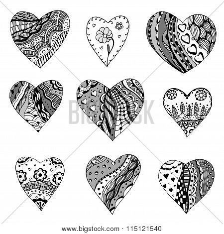 Zentangle Style Hearts