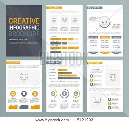 Vector template for multipurpose presentation slides with graphs and charts. Infographic elements, c