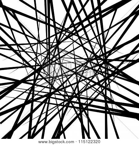 Random Irregular Intersecting Lines. Abstract Monochrome Vector Texture, Pattern.