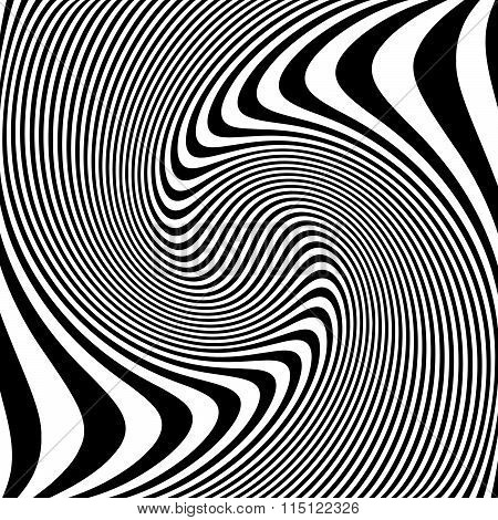 Abstract Lines With Distortion, Deformation Effect. Asymmetric Monochrome Pattern.