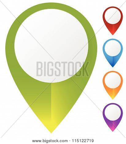 Map Marker, Map Pin Set. Abstract Pushpins, Thumbtacks With Empty Space. Vector.