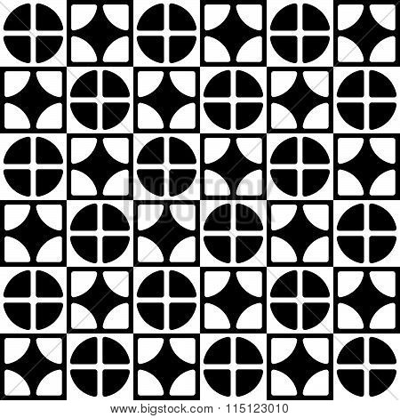 Abstract Geometric Pattern With Staggered Lines Of Segmented Circles, Squares. Monochrome Repeatable