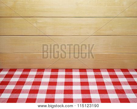 Red Checkered Tablecloth And Wooden Planks Background