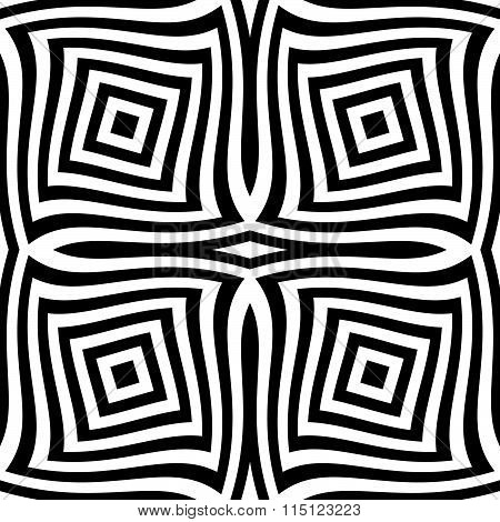 Seamlessly Repeatable Monochrome Pattern. Abstract Deformed Squares.