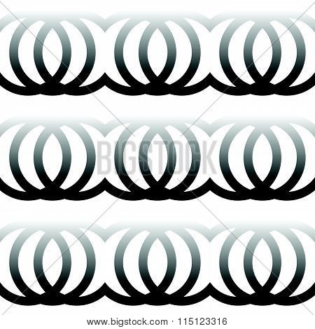 Interlocking Circles, Rings. Abstract Monochrome Pattern. Repeatable.
