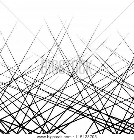 Random, Intersecting Lines. Abstract Monochrome Vector Texture / Pattern.