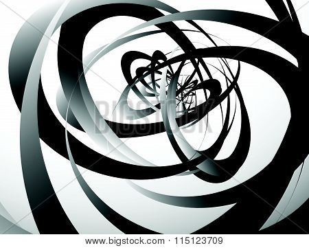 Abstract Monochrome Texture With Overlapping Circular, Oval Shapes. Grayscale Artistic Background