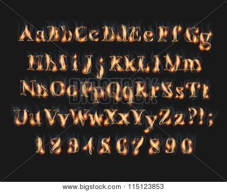 Fire burning alphabet and numbers font set with smoke on black background