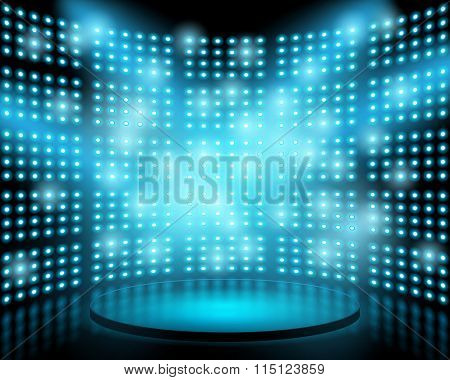 Performance stage with lightbulb glowing backdrop wall. Vector abstract background