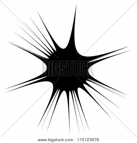 Abstract Spiky, Pointed Shape. Monochrome Vector Graphics.