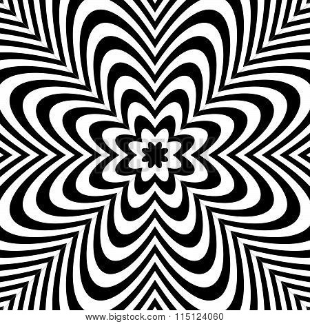 Monochrome Background: Abstract Bursting, Radial, Radiating Pattern.