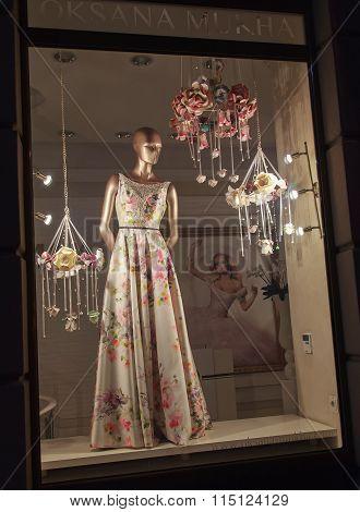 Lviv, Ukraine - October 18, 2015: Boutique Showcase Famous Fashion Designer Oksana Mukha