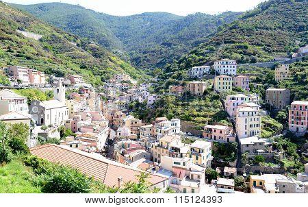 Looking Up To Riomaggiore, Small Italian Riviera Town