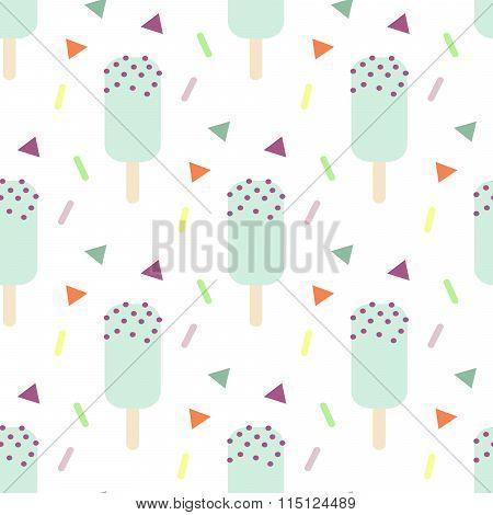 Mint ice cream seamless pattern.