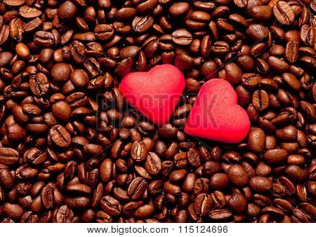 Two Red Hearts On Coffee Beans