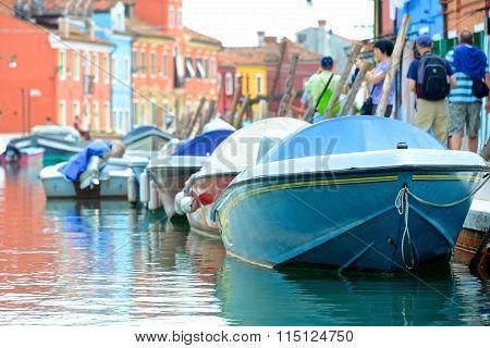Colorful Boats On Venetian Island Of Burano