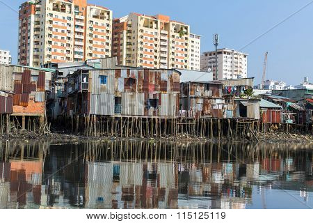 Views of the city's Slums from the Saigon river. Vietnam.