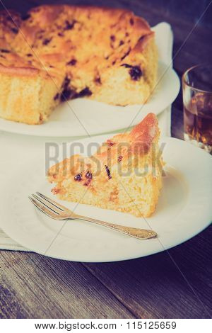 Vintage Photo Of Homemade Yeast Cake With Plum Jam
