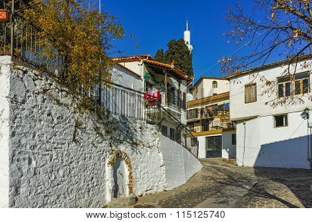 Typical street and mosque in old town of Xanthi, East Macedonia and Thrace