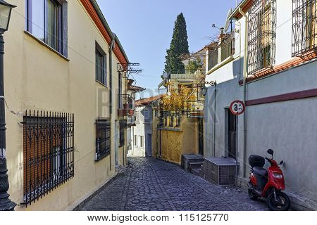 cobblestone streets in old town of Xanthi, East Macedonia and Thrace