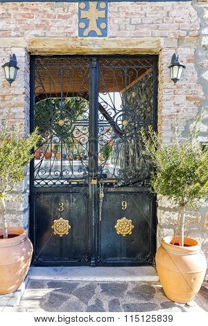 The entrance of old orthodox church in old town of Xanthi, East Macedonia and Thrace