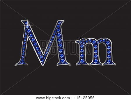 Mm Sapphire Jeweled Font With Silver Channels