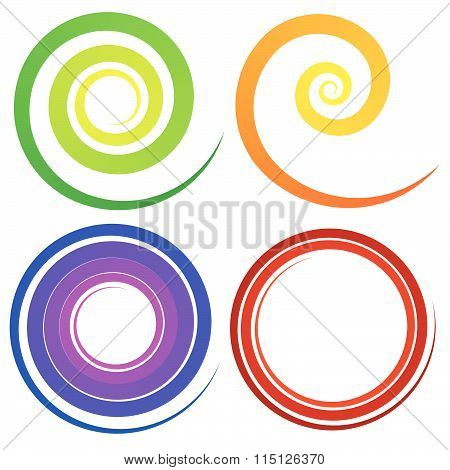 Curly Spiral Shapes. Colorful Design Elements. Vector.