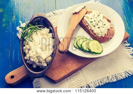 Vintage Photo Of Cottage Cheese On A Bread