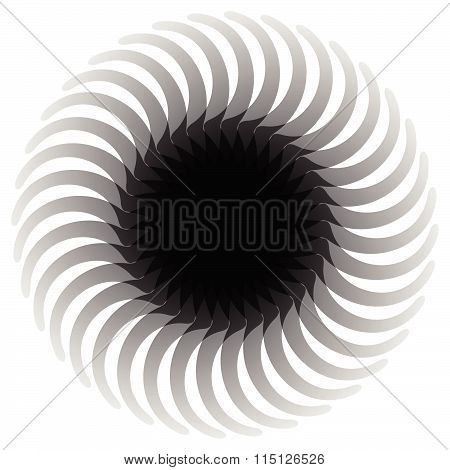 Circular Abstract, Rotating  Shape, Motif. Monochrome Element.