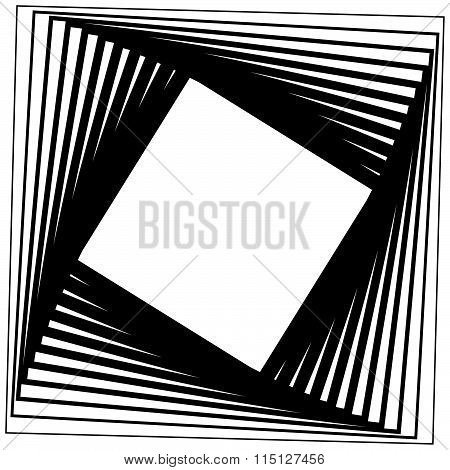 Abstract, Monochrome Background With Twisting, Rotating Squares. Vector.