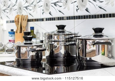 Modern induction cooker with the silver pots