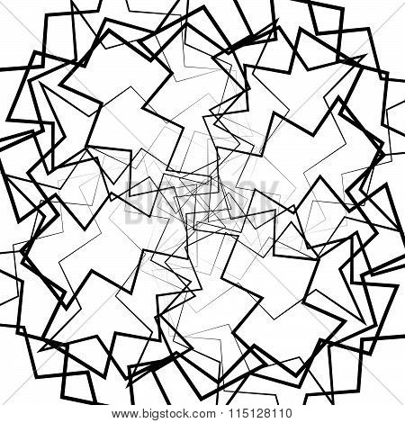 Abstract Lines Pattern With Distortion. Black And White Background In Square Format.