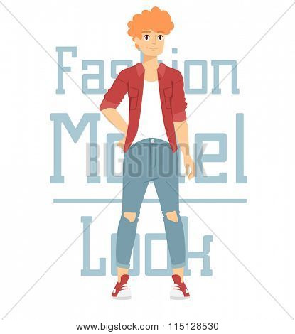 Beautiful vector cartoon fashion boy model constructor  look standing over white background. Modern beauty looks. Some modern everyday clothes icons