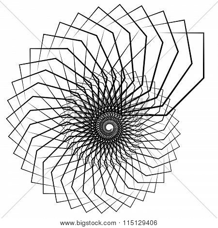 Abstract Spiral, Swirl, Twirl Element Isolated On White. Monochrome Shape.