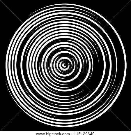 Swirly Concentric, Segmented Circles. Abstract Vector Illustration