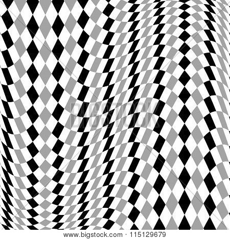 Grayscale, Monochrome Squared Pattern With Distortion Effect.